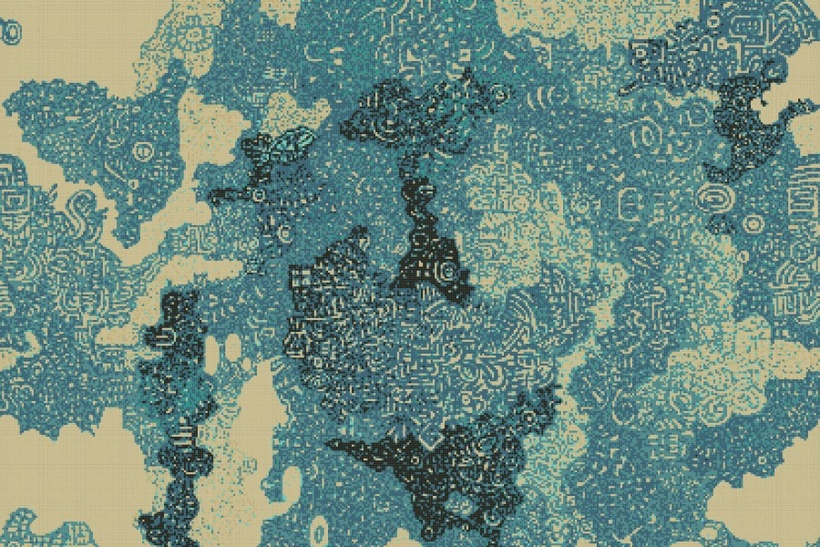 Turquoise Clouds Abstract Mosaic By Artaic