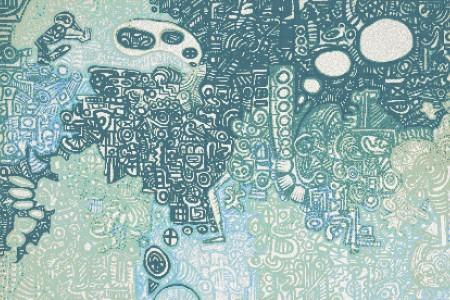 Turquoise symbols  Geometric Mosaic by Artaic