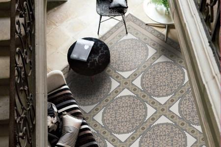 Green geometries Traditional Ornamental Mosaic installation by Artaic