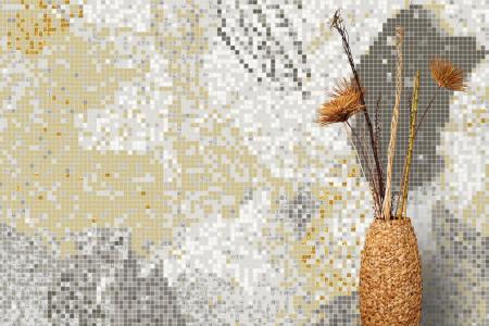 Neutral cutouts  Textural Mosaic installation by Artaic