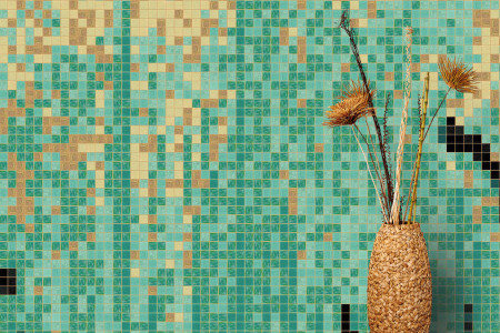 Turquoise brushstrokes  Abstract Mosaic installation by Artaic