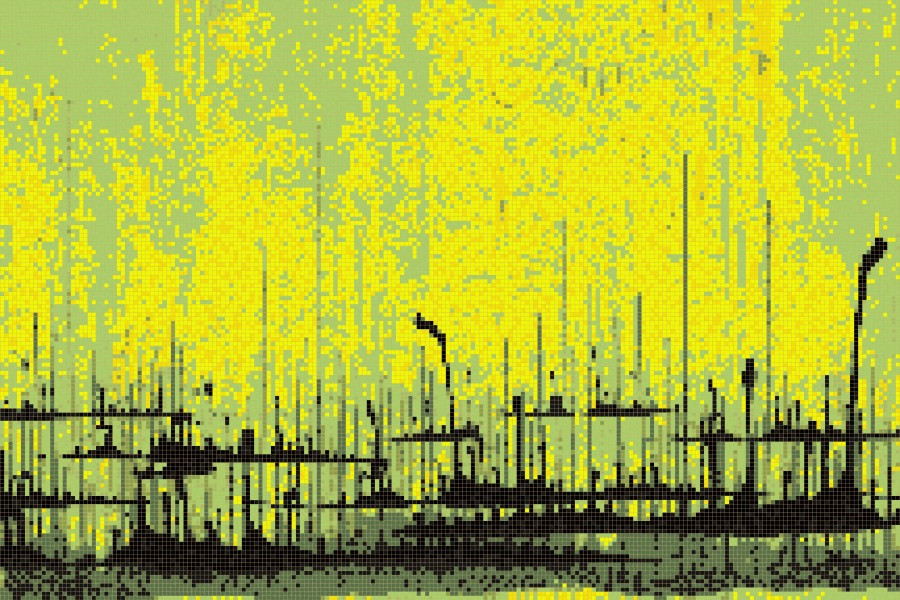 Yellow brushstrokes  Abstract Mosaic by Artaic
