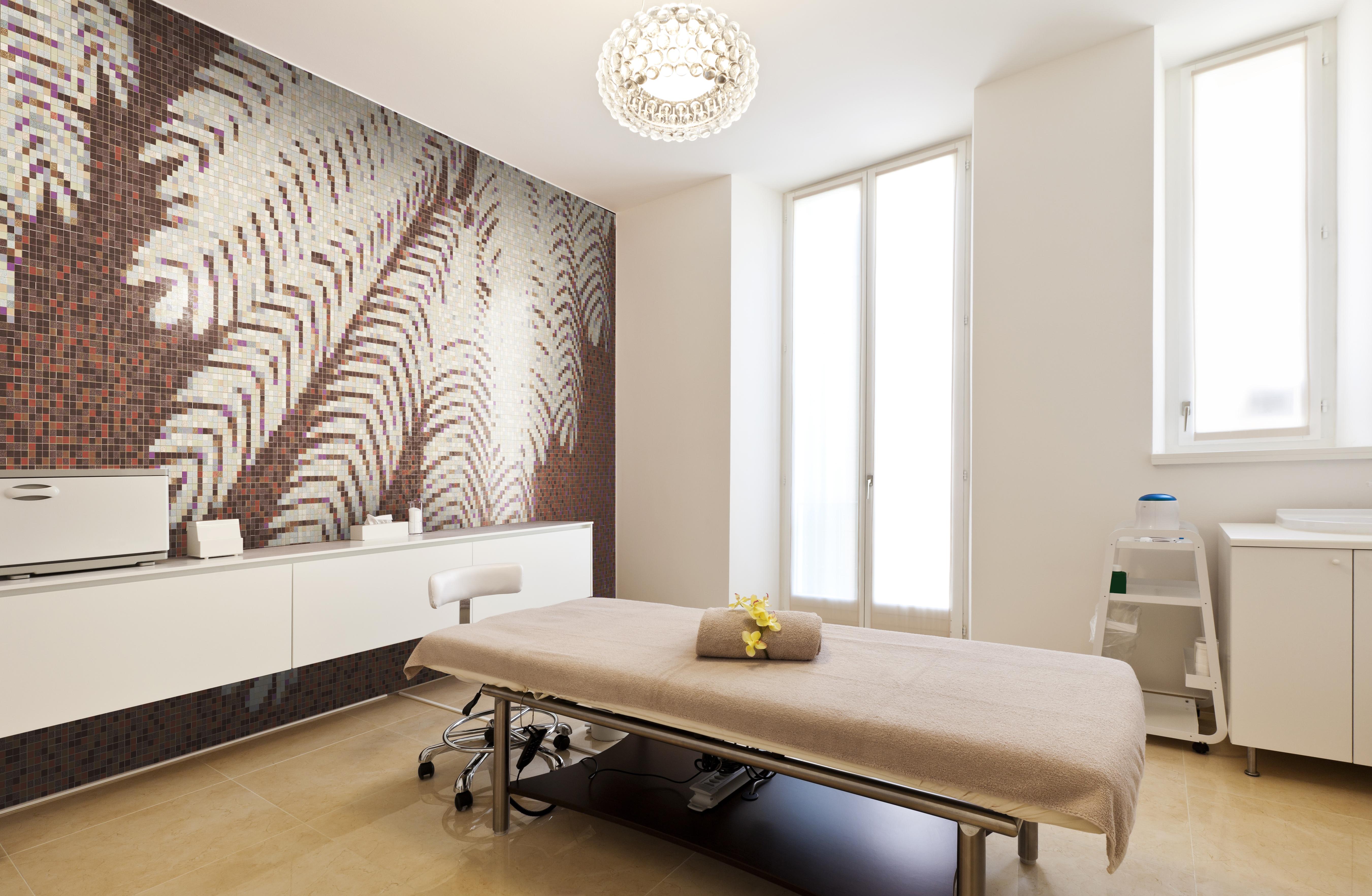 Fern Spa Wall Mosaic Brown Tile Nature Design Artaic