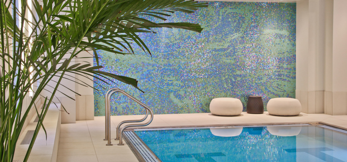 Artaic abstract blue green wacker luxury residential pool mosaic