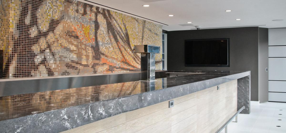 Artaic abstract orange yellow mosaic loews chicago glass pool mosaic