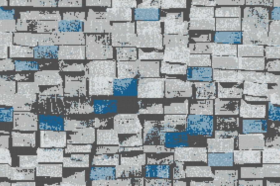 Blue reclaimed lumber Contemporary Textural Mosaic by Artaic