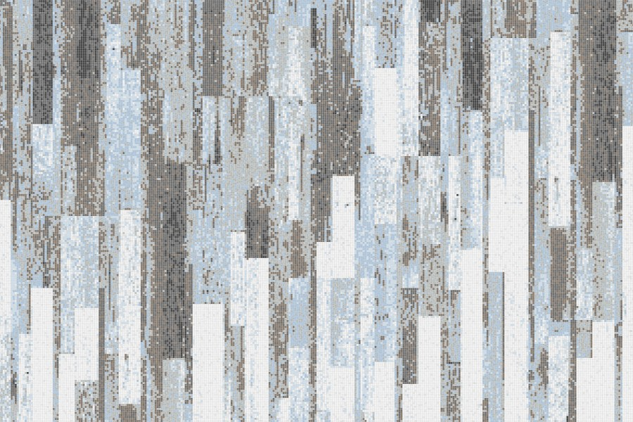 Blue reclaimed wood Contemporary Textural Mosaic by Artaic