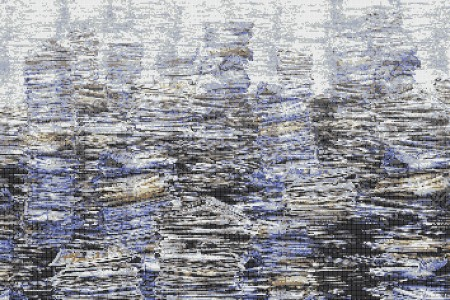 Blue recycled paper material Contemporary Textural Mosaic by Artaic