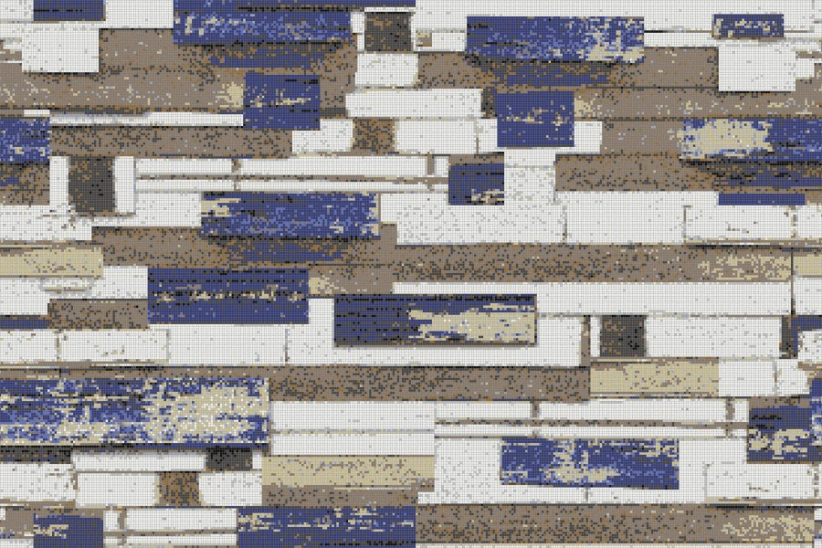 Brown reclaimed wood Contemporary Textural Mosaic by Artaic