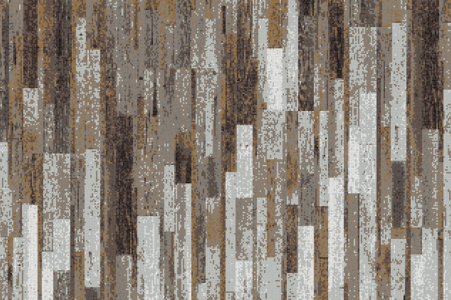 Brown reclaimed wood Contemporary Textural Mosaic by Artaic - Brown Reclaimed Wood Tile Pattern Timber Earthen By ARTAIC