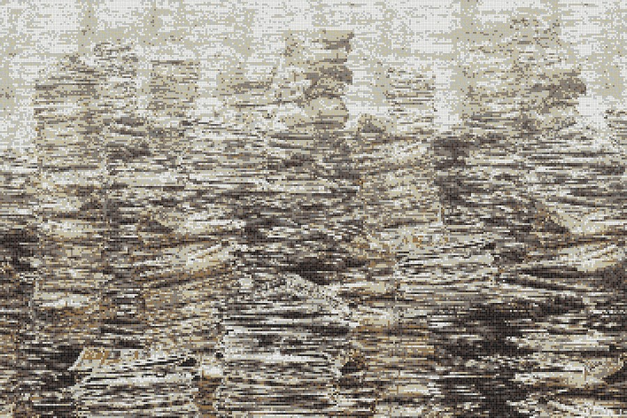 Brown recycled paper material Contemporary Textural Mosaic by Artaic