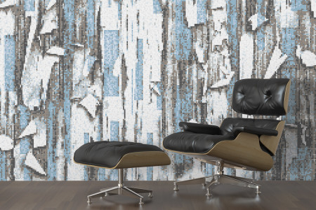 Blue tree bark Contemporary Textural Mosaic installation by Artaic