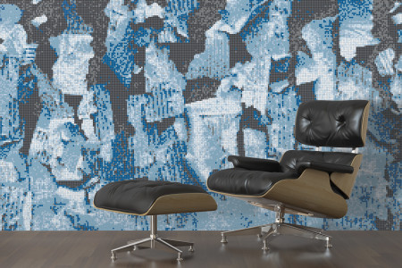 Blue natural materials Contemporary Textural Mosaic installation by Artaic