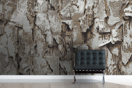 Brown distressed texture Contemporary Textural Mosaic installation by Artaic