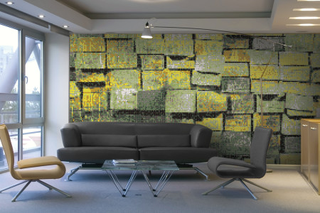Green reclaimed lumber Contemporary Textural Mosaic installation by Artaic
