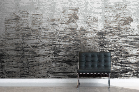 Grey recycled paper material Contemporary Textural Mosaic installation by Artaic