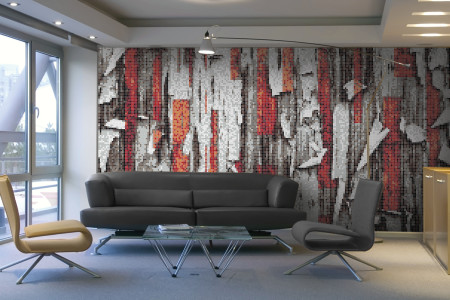 Red tree bark Contemporary Textural Mosaic installation by Artaic