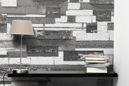Grey reclaimed wood Contemporary Textural Mosaic installation by Artaic