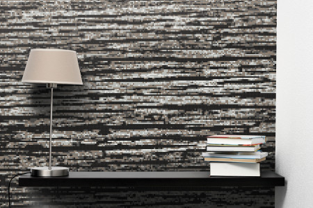 Grey wood grain Contemporary Textural Mosaic installation by Artaic