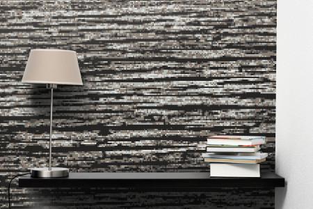 Grey wood grain Contemporary Textural Mosaic installation by Artaic