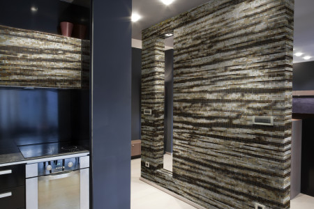 Brown wood grain Contemporary Textural Mosaic installation by Artaic
