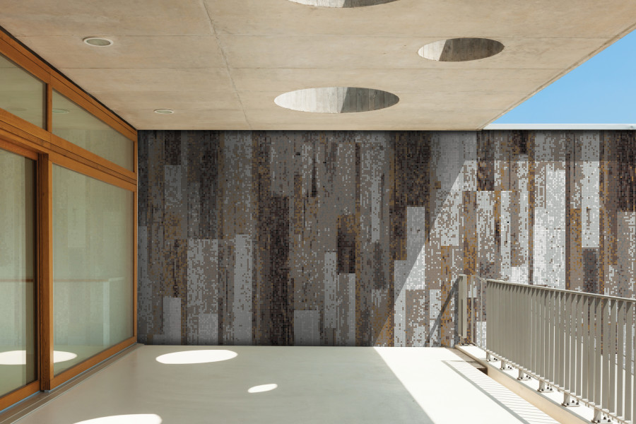 ... Brown reclaimed wood Contemporary Textural Mosaic installation by Artaic - Brown Reclaimed Wood Tile Pattern Timber Earthen By ARTAIC