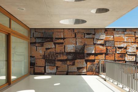 Orange reclaimed lumber Contemporary Textural Mosaic installation by Artaic