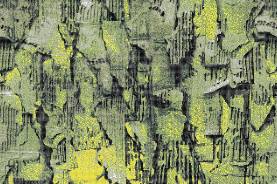 Green distressed texture Contemporary Textural Mosaic by Artaic