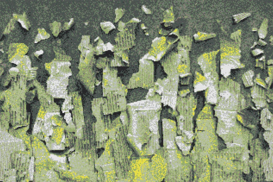Green natural materials Contemporary Textural Mosaic by Artaic