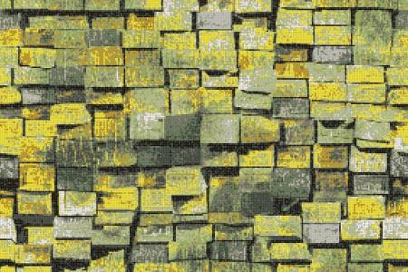 Green reclaimed lumber Contemporary Textural Mosaic by Artaic