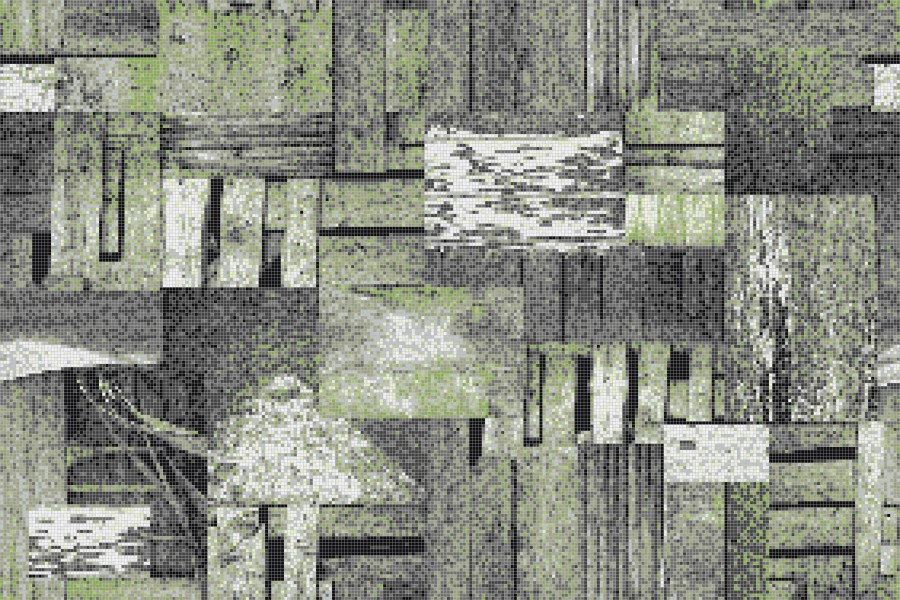 Green wooden pallets Contemporary Textural Mosaic by Artaic