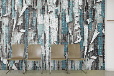 Turquoise tree bark Contemporary Textural Mosaic installation by Artaic
