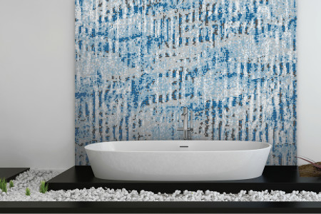 Blue cardboard Contemporary Textural Mosaic installation by Artaic