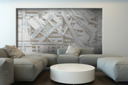 Blue wooden pallets Contemporary Textural Mosaic installation by Artaic