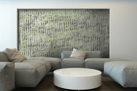 Green cardboard Contemporary Textural Mosaic installation by Artaic