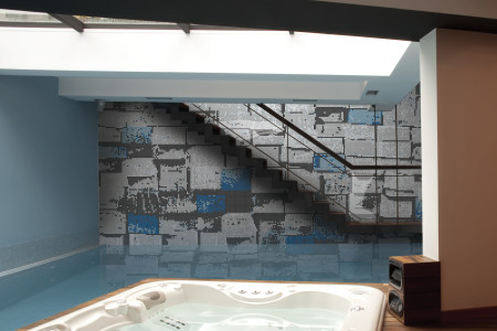 Blue reclaimed lumber Contemporary Textural Mosaic installation by Artaic
