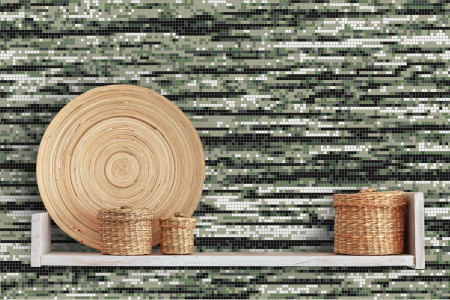Green wood grain Contemporary Textural Mosaic installation by Artaic