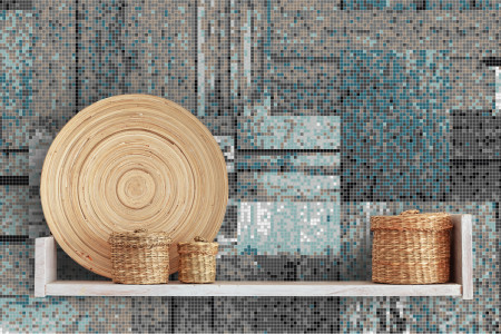 Turquoise wooden pallets Contemporary Textural Mosaic installation by Artaic