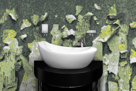 Green natural materials Contemporary Textural Mosaic installation by Artaic