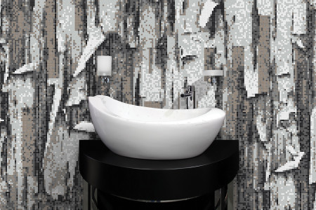 Grey tree bark Contemporary Textural Mosaic installation by Artaic