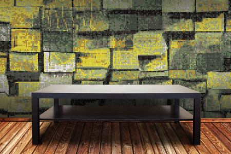 Green reclaimed lumber Contemporary Textural Mosaic installation by Artaic