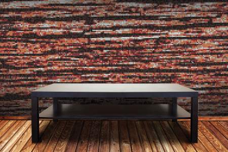 Red wood grain Contemporary Textural Mosaic installation by Artaic
