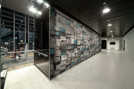 Turquoise reclaimed lumber Contemporary Textural Mosaic installation by Artaic