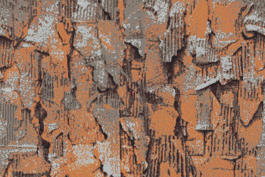 Orange distressed texture Contemporary Textural Mosaic by Artaic