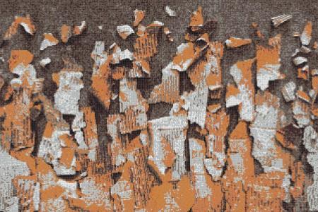 Orange natural materials Contemporary Textural Mosaic by Artaic
