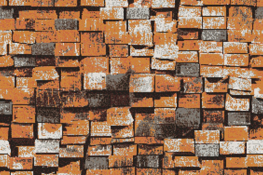 Orange reclaimed lumber Contemporary Textural Mosaic by Artaic