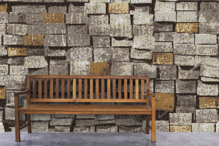 Brown reclaimed lumber Contemporary Textural Mosaic installation by Artaic