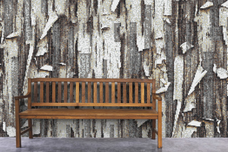 Brown tree bark Contemporary Textural Mosaic installation by Artaic