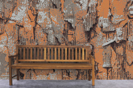 Orange distressed texture Contemporary Textural Mosaic installation by Artaic