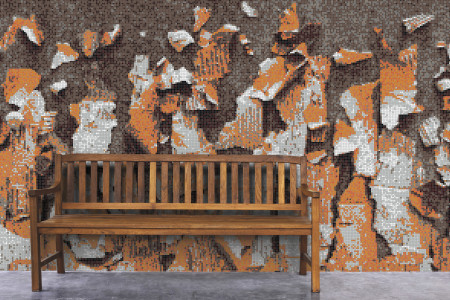 Orange natural materials Contemporary Textural Mosaic installation by Artaic